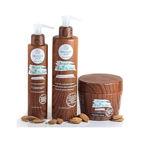 organics-shop set shampooing masque conditioner & huile au beurre de karité formule naturelle sans sulfates paraben sel SLS SLES vegan cheveux