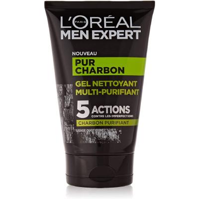 L'Oréal Men Expert - Pur Charbon - Gel Nettoyant Multi-Purifiant Visage Homme - Peaux Grasses